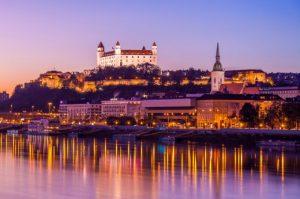 Night time view of Bratislava