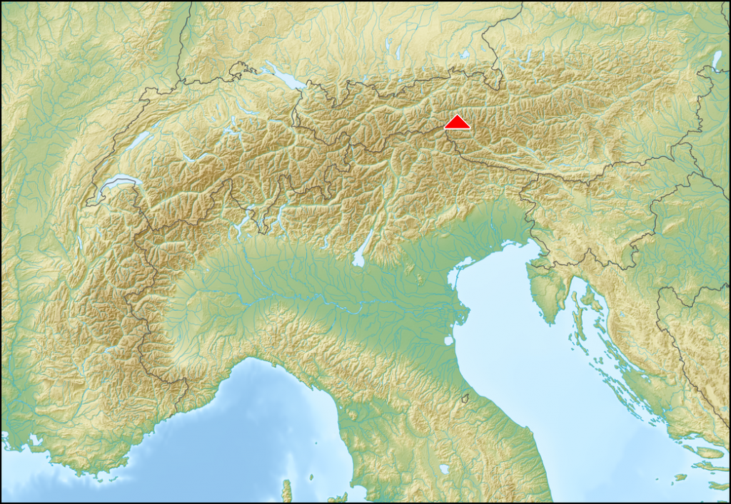 Map of the Alps showing location of Hohe Tauern National Park