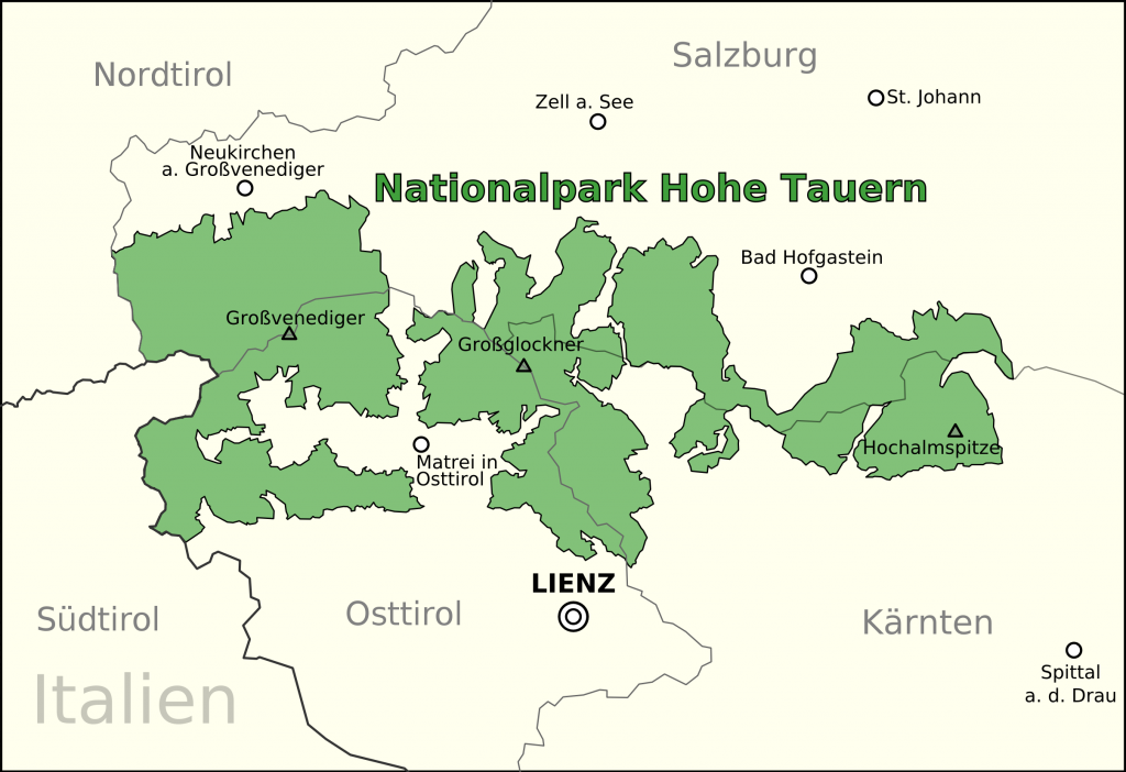 Map of Hohe Tauern National Park